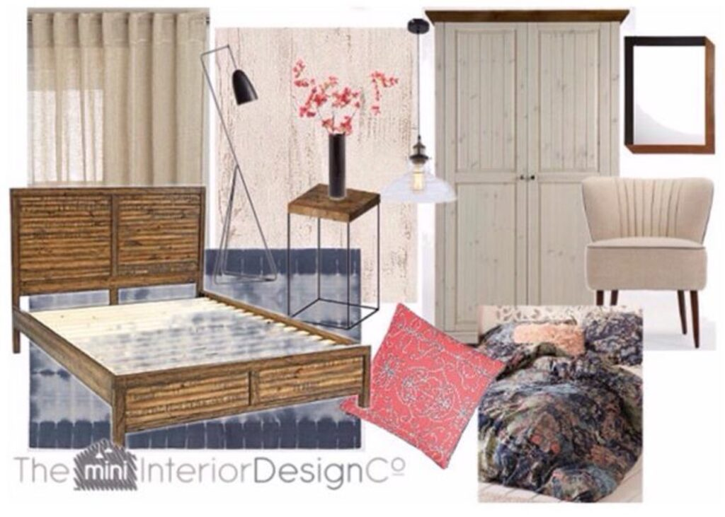 Pink/Blue Rustic Bedroom Design