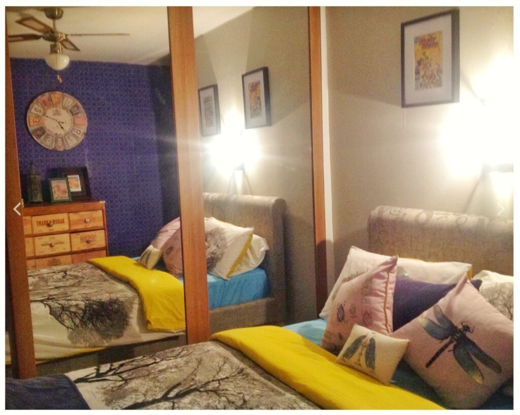 blue and yellow bedroom