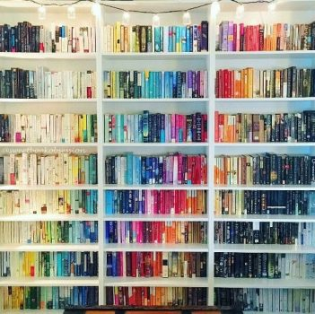 Colourful book shelfie
