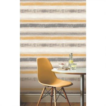 Grey and mustard striped wallpaper