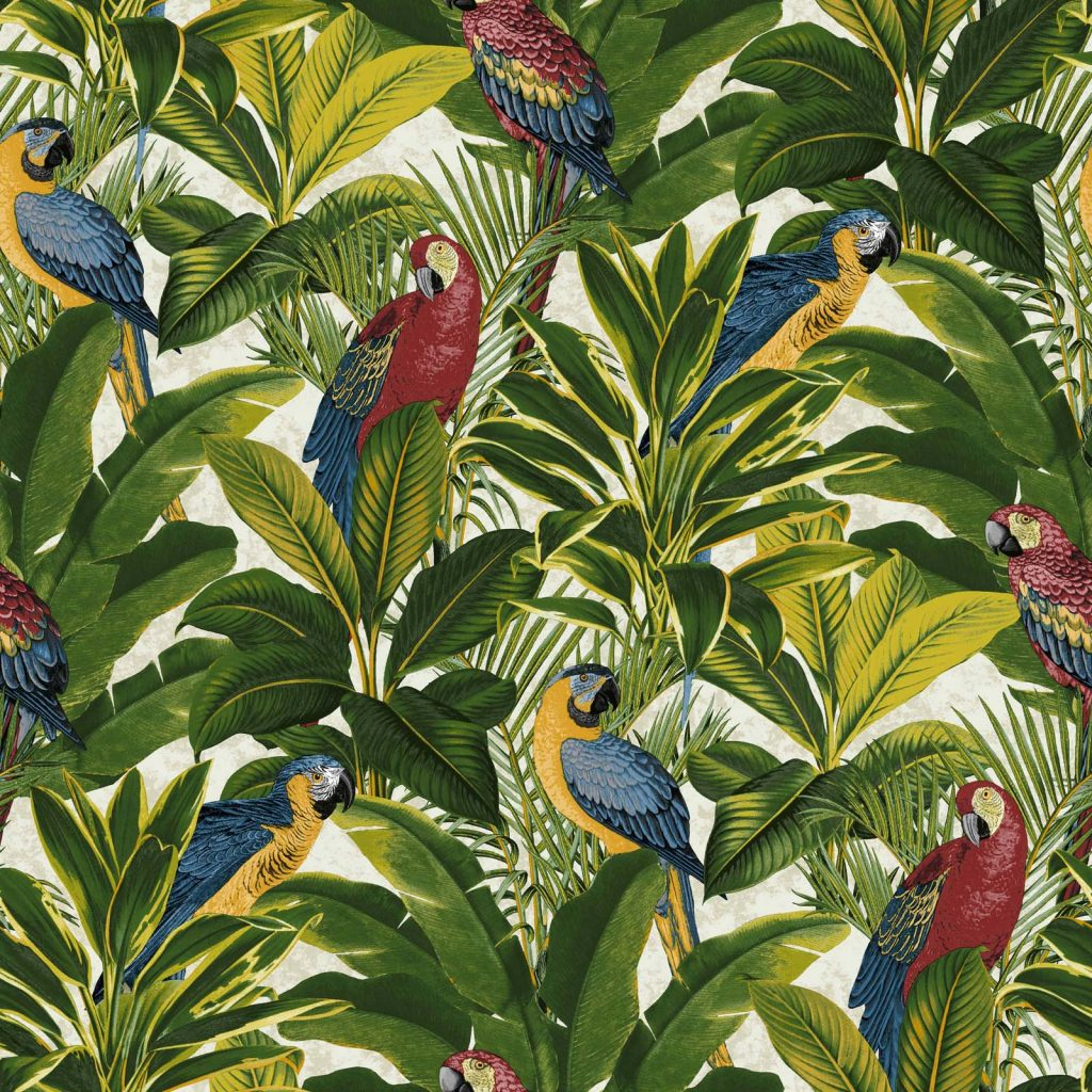 Parrot Tropical Print Wallpaper