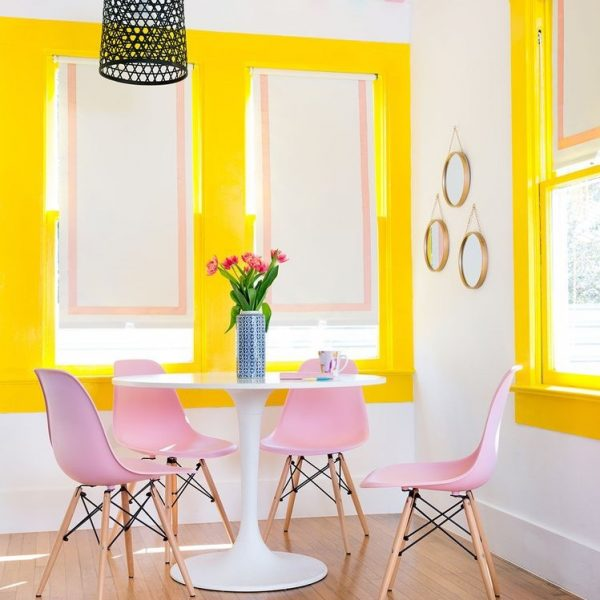 Dining Room Wallpapered Ceiling - Katie Kime