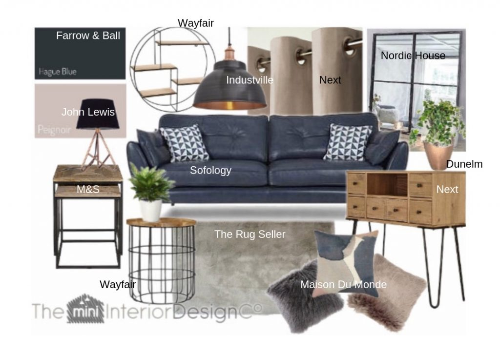 stylish living room -created by our online interior design service
