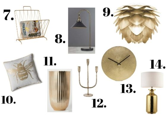 Brass accessories for the home