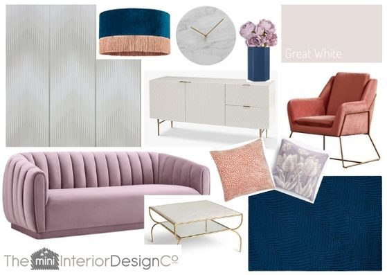 pastel art deco living room