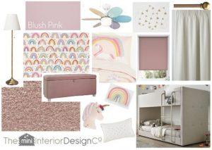 Rainbow and Unicorn Bedroom Design Board