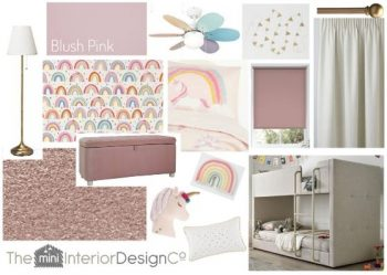 Rainbow and Unicorn Bedroom Design Board